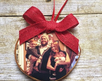 Family Photo Ornament | Custom Photo Ornament | Personalized Wood Ornament | Christmas Ornament | Hand lettered | Rustic Decor