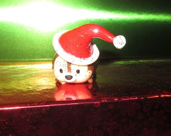 Tsum Tsum Chip Chip and Dale Christmas Ornament Hand Sculpted Santa Hat Custom made Ready To Ship