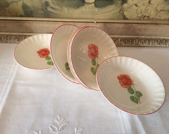 Vintagwe Hand Painted Rose Porcelain Berry Bowls