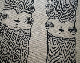 ON SALE - Anthropomorphic Twin Tree Screen Print