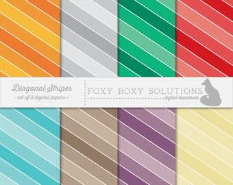Digital Download Colorful Diagonal Stripes - Instant Download Digital Paper - Craft Supply for Scrapbooking & Crafting - Printable Paper