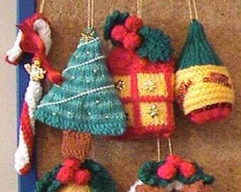 Set of 6 Beautiful Handmade CHRISTMAS TREE DECORATIONS - New -