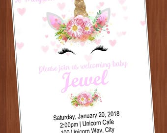 Unicorn Baby shower Invitation (read description)