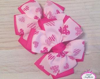 "I Heart You"" Valentines Piggy Bow Set - Pinwheel Bows"