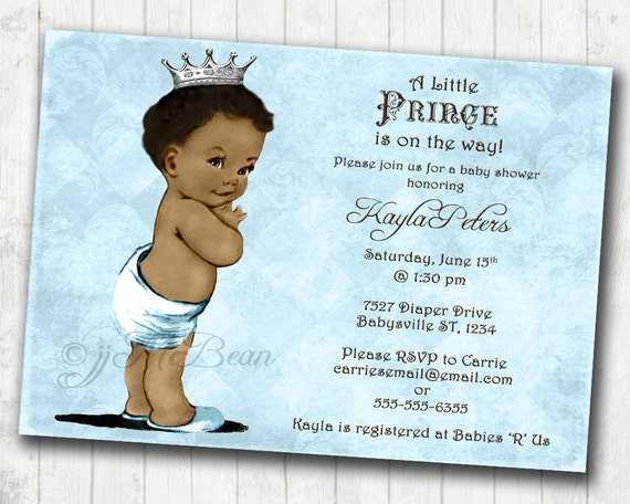 Boy Baby Shower Invitation African American Baby Shower
