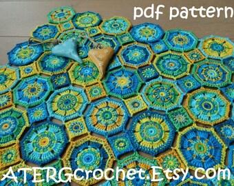 Crochet pattern baby blanket OCTAGON by ATERGcrochet