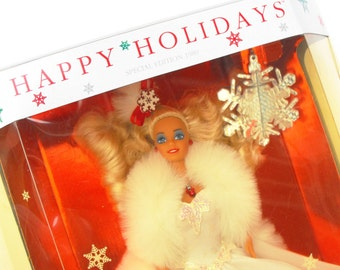 1989 Happy Holidays Barbie Winter Fashion Doll 2nd in Series Mattel Special Edition 80s Christmas Gift NIB Snowflake Ornament & Display Case