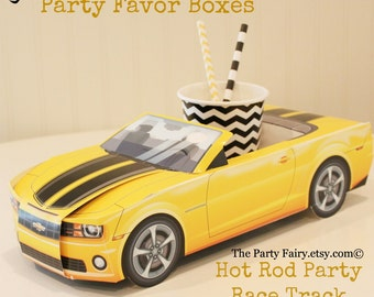 Car Party Food Box, 8 Yellow Modern Camaro-Bumble Bee-Transformers-Movie Party-Race Track Party- Food Tray- Cute Kids Paper Car Favor Box