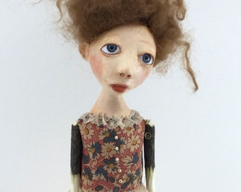 Cloth and paperclay folk art doll stick legs and arms ooak sculpted Fenella