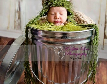 Newborn Oscar The Grouch Hat-Limited Stock (yarn discontinued)