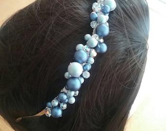 Swarovski pearl and crystal hair band