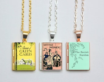 Vintage Book Locket Charms. Little Women Book Charm. Anne of Green Gables Necklace. The Secret Garden Jewellery. Literary Gift Book Cover