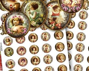 Images digitales pour cabochon + Etiquettes Cadeaux, Planche image cabochon, Planche digitale - Images Digitale -  LES ENFANTS-FLEURS