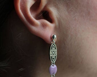 Enameled beads, purple, violet and silver charm bead earrings
