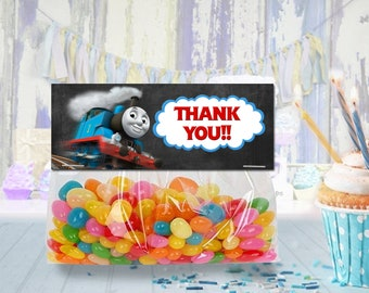 Thomas the train favor bag toppers, thomas treat bag topper, party favor, candy bag topper, gift bag topper - PRINTABLE INSTANT DOWNLOAD