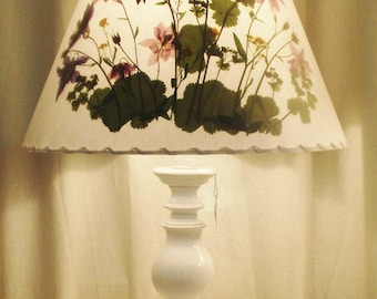 Botanical Lampshade With Real Pressed Flowers, Columbine Lamp Shade, Floral Design Lampshade, Custom Made Lamp Shade, Large Washer Top Shade