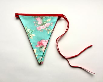 Floral bunting - Turquoise green and pink floral bunting - Handmade bunting - Floral banner - Dorm decor
