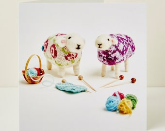 Knitting Friends Greeting Card