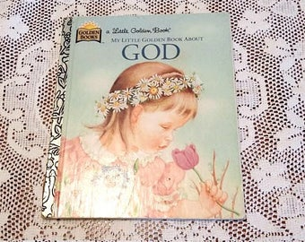 Vintage My Little Golden Book About God