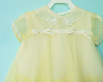 Pretty Vintage 1950's Yellow Toddler Dress w/Reproduction Slip  12 Months