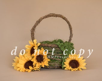 Basket with Sunflowers Newborn Digital Backdrop
