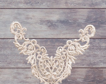 Venice Lace Applique to be added to any Belle Fleur Costume/Hand Dyed Lace/Custom Shaped Lace/Metalic Lace