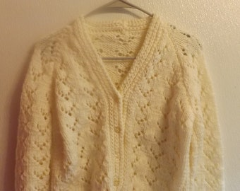 Vtg 70s Open Knit Button Front Vintage Sweater Flower Buttons
