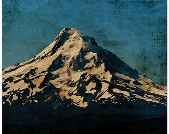 Mt Hood photography, oregon, mountain photography, textured photo, fine art print