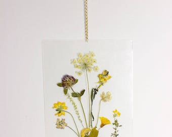 Real Pressed Flowers Hanging Wall Art, Original Handmade & One of a Kind