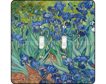 Vincent Van Gogh Irises Painting Square Double Toggle Light Switch Plate Cover