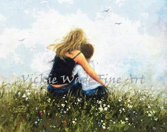 Mother and Son Art Print, mom, boy, blonde mother, mom hugging son, loving mother, mother's day gift, mum wall art,  Vickie Wade Art