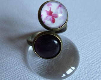 Bronze antique double cabochon pink and white retro ring