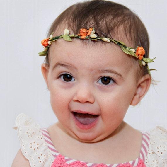 Orange Baby Crown, Baby Headband, Flowers Crown, Flower Headband, Orange Headband, Infant Headband, Flowers Headband, Birthday Crown