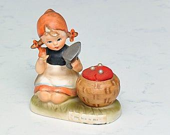 The Iron is Hot Pin Cushion -Hummel like figurine by Kelvin 1962