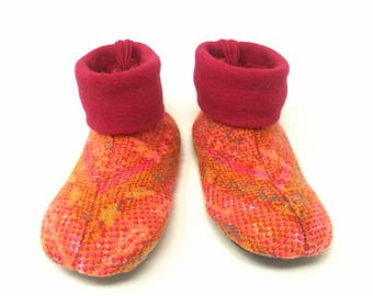 Montessori Children's Shoes, Kids Slippers,  Size 3-5, Winter Shoes, Non Slip Bottoms, Machine Washable, Ready to Ship, Red and Orange