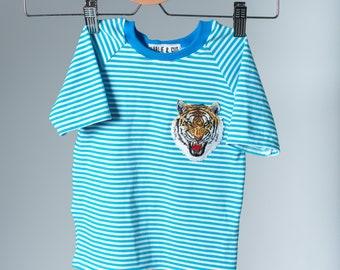 Blue + White Stripy Tiger Shirt