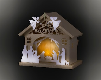 3D Nativity Barn template