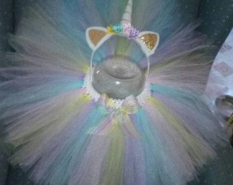 Birthday Pastel Colors Unicorn Pony Tulle Tutu Skirt with Headband Outfit Set