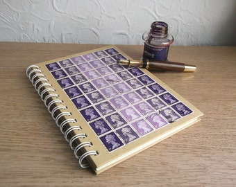 A5 Notebook, Purple Lavender Journal   Recycled Lined Writing Book, Spiral   upcycled British stamps, Machin stamps   quirky graduation gift