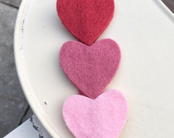 Felt Heart Headband - Pink Ombre Wool