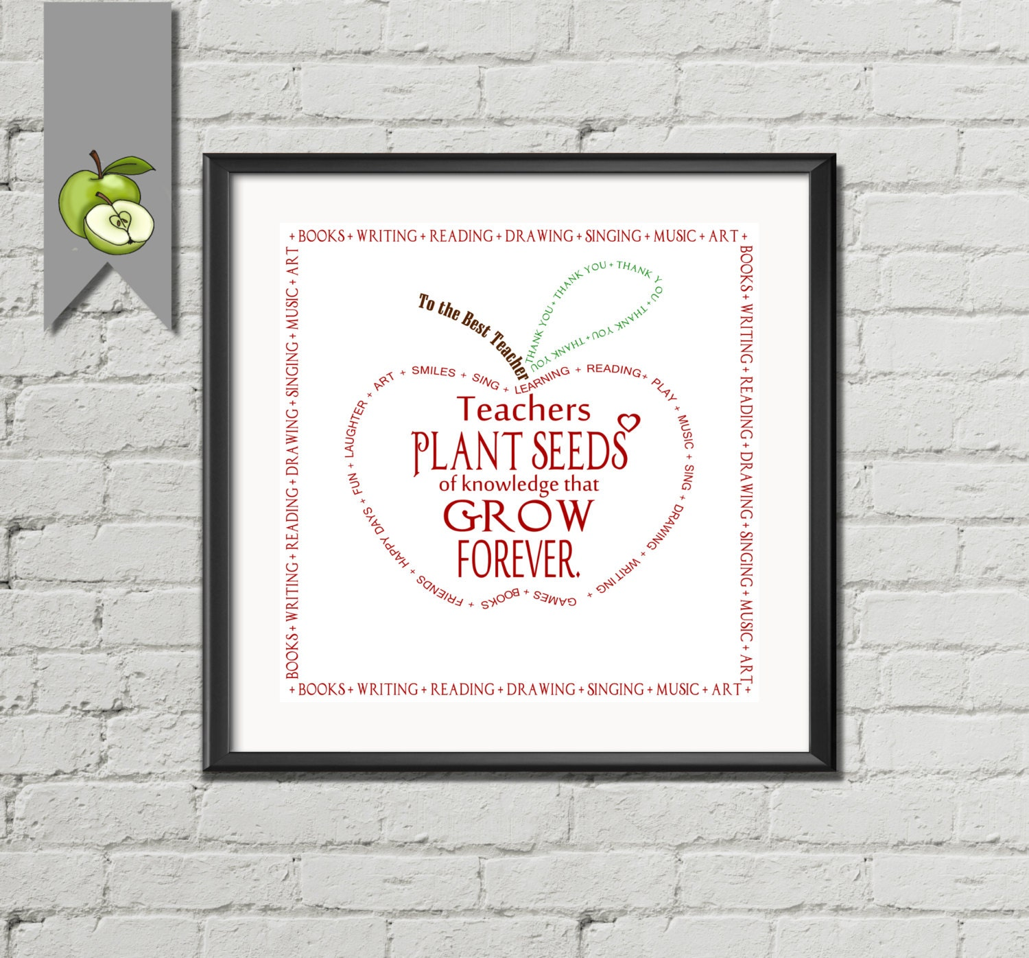 Thank You Teacher Quotes Teacher Appreciation Gift Seed Of Knowledge Quote Apple