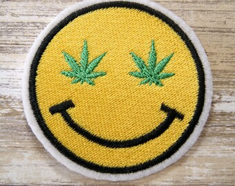 Retro Smiley Face Pot Leaf Merit Badge Iron On Embroidery Patch MTCoffinz