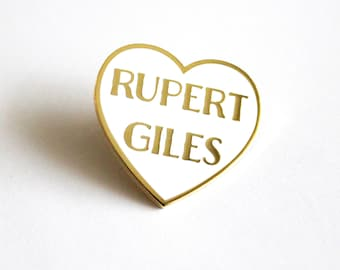 "Rupert Giles White and Gold Heart Pin // Buffy the Vampire Slayer inspired // 1.25"" hard enamel lapel pin"
