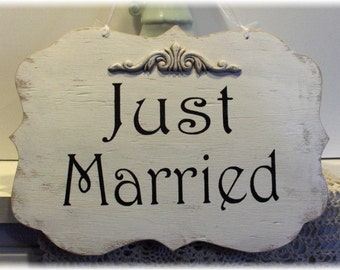 Wedding Sign Here Comes The Bride/ Just Married Two Sided Wood White Shabby Chic Custom Photo Prop