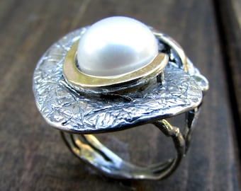 Silver and gold ring, jewelry,ring, womens rings, unique ring, pearl ring, two tone ring, gift ideas for her, mixed ring valentines jewelry