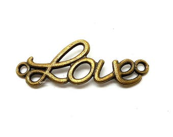 love charm connector writing bronze