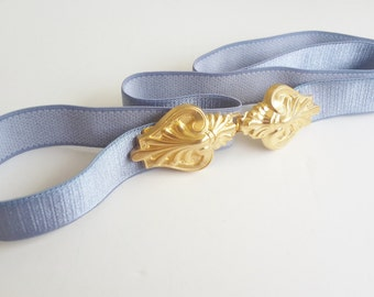 Dress belt - waist belt - Light Blue Belt - Gold belt - Bridesmaid Belt - Dainty Belt - Bridal Belt - Gold Buckle - Delicate belt - Stretchy