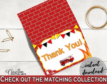 Thank You Card Baby Shower Thank You Card Fireman Baby Shower Thank You Card Red Yellow Baby Shower Fireman Thank You Card - LUWX6