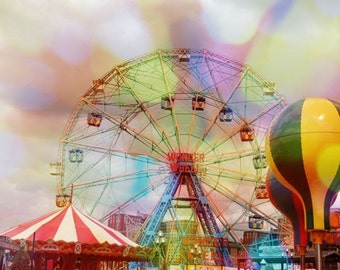 Wheel Ride  In New York Coney Island - Carnival Photograph - Nursery Wall Art  - Kid's room Decor - New York Cityscape - Coney Island  Photo