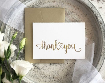 Wedding Thank You Card, Calligraphy Thank You Cards, Thank You Card Sets, Letterpress Thank You Cards, Calligraphy Cards, Thank Yous